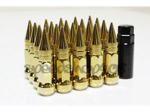 Z Racing Bright Gold L80 Steel Spike Style 12x1 25mm Close Ended Lug Nuts Key