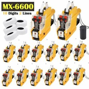 Lot Pro Mx 6600 10 Digits 2 Lines Price Tag Gun Labeler 1 Ink 5 Rolls Tags Mb