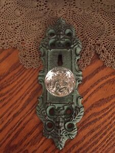 Cast Iron Door Plate With Acrylic Glass Knob Vintage Turquoise Teal Accent
