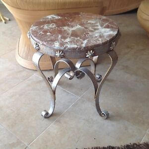 Vintage French Wrought Iron Rouge Colored Marble Top Table Free Shipping