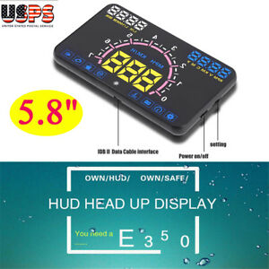 5 8 Car Obd2 Euobd Ii Hud Head Up Display Speed Warning System Projector Us