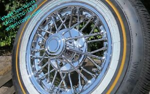 15 Inch 30 Spoke Chrome Wire Wheels Vogue Whitewall Tires Cadillac New Set 4