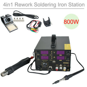 800w 909d 4 In 1 Smd Rework Soldering Iron Station Welder Hot Air Heat Gun New