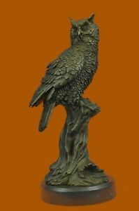 Owl On A Branch Wings Spread Collectible Gift Decor Bronze Sculpture Statue Hand