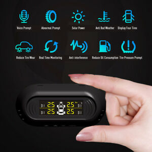 Wireless Tire Pressure Monitoring System Solar Power 4 Sensors Tire Gauge
