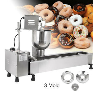Us New Commercial Automatic Donut Making Machine wide Oil Tank 3sets Free Mold