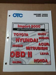 Otc On Board Diagnostics Obd Ii User Guide For Import 2000 Toyota Honda Lexus