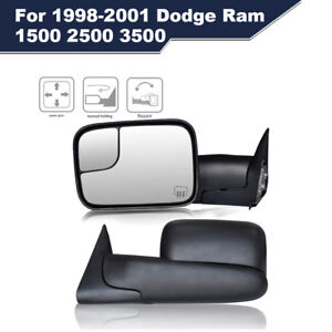 Black Pair Power Heated Towing Mirrors For 1998 2001 Dodge Ram 1500 2500 3500