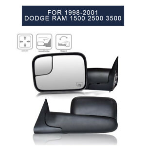 For 1998 2001 Dodge Ram Power Heated Flip up Electric Adjusting Tow Mirrors