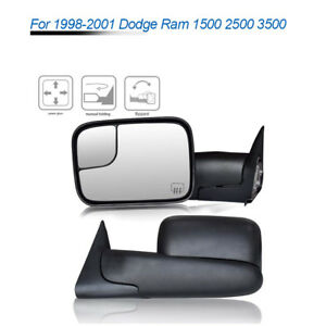 For 98 01 Dodge Ram 1500 3500 Power Heated Electric Adjusting Tow Mirrors Pair