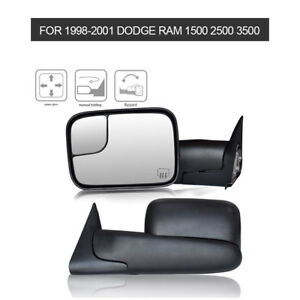 Towing Mirrors Power Heated For 1998 2001 Dodge Ram Pickup Tow Side Mirror