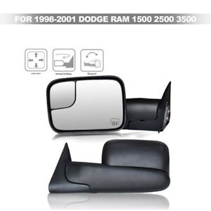 For 1998 2001 Dodge Ram Power Heat And Electric Adjusting Tow Mirror Pair