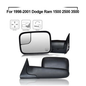 For Left right 1998 2001 Dodge Ram 1500 2500 3500 Flipup Power Heated Tow Mirror