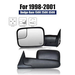 Pair Power Heated Flip Up Tow Mirrors Fits 98 01 Dodge Ram 1500 2500 3500