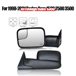 Pair For 98 01 Dodge Ram 1500 2500 3500 Pickup Power Heated Tow Mirrors