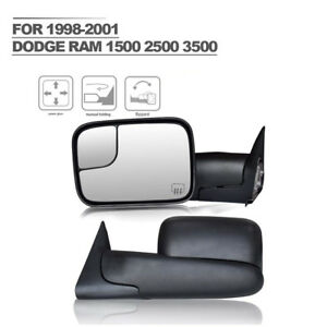 For Left right 1998 2001 Dodge Ram 1500 2500 3500 Tow Flip Up Power Heat Mirror