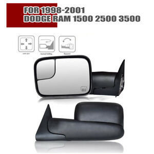 Latest Style Tow Mirrors For 98 01 Dodge Ram 1500 2500 3500 Power Heated