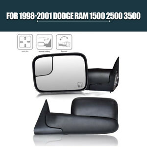 Pair For 1998 2001 Dodge Ram Pickup Power Heated Electric Adjusting Tow Mirrors