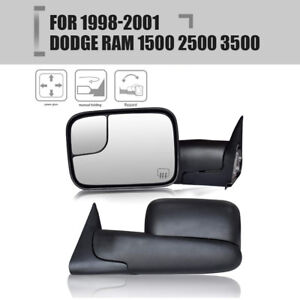 For L r 1998 2001 Dodge Ram 1500 2500 3500 Tow Flip Up Power Heated Mirror