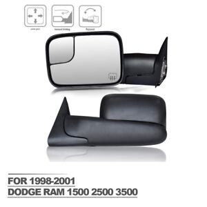 For 1998 2001 Dodge Ram 1500 2500 3500 Tow Mirrors Power Heated Electric Adjust