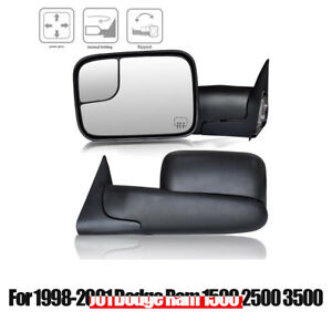 For 98 01 Dodge Ram 1500 2500 3500 Towing Mirror Pair Power Heated Flip up Black