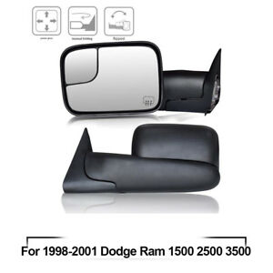 For 1998 2001 Dodge Ram 1500 2500 3500 Tow Mirror Power Heated Flip up Black