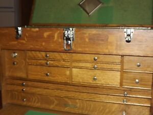 H Gerstner Sons Machinist Tool Chest 82 Oak 12 Drawer With Keys