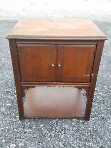 Vintage Antique Wood Humidor Smoking Cigar Telephone Stand Station Cabinet Table
