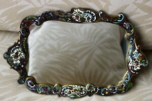 1900 French Champleve Enamel And Bronze Dressing Tray Mirror