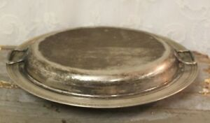 Antique Silver Plate Covered Oval Serving Dish 12