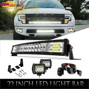 22inch 280w Led Work Light Bar 4 18w Spot Flood Combo For 4x4wd Jeep Ford Suv