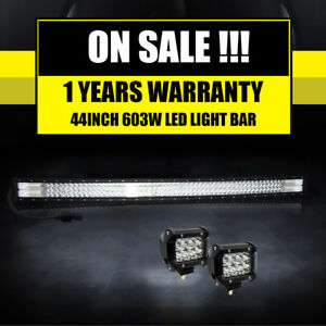 44inch Cree Curved Led Light Bar Flood Spot Combo Offroad Truck 4wd 46 50