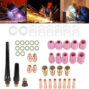 49 Pcs Tig Welding Torch Stubby Gas Lens 10 Pyrex Glass Cup Kit For Wp 17 18 26