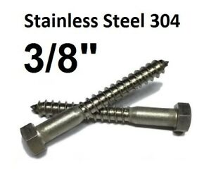 3 8 Stainless Steel Lag Screws Hex Head Lag Bolts Select Length Qty 100