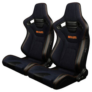 Braum Navy Denim Elite X Racing Seats W Orange Stitching Brr1x Ndos Pair