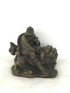 Man Riding Chinese Dragon Decorative Bronze Statue