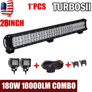 28inch 180w Led Light Bar Off Road Driving Fog Light Combo With Free Wiring Kit