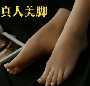 New Lifesize Realistic Silicone Foot Mannequin Fetish 1 Pair Jewelry Display 5