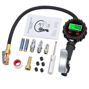 Lcd Digital Electric 250psi Tire Pressure Gauge Tire Inflator 5valve Caps Us