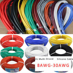 8awg 30awg Flexible Silicone Wire Insulation Tinned Copper Cable Black Red Line