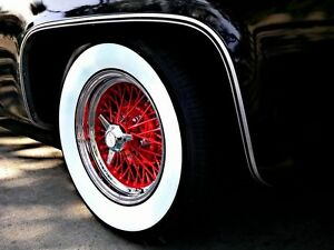 15 X3 Wide Whitewall Tire Insert Trim Set Vw Beetle Ford Chevy Super Molded