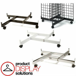Free Shipping Grid Gridwall 4 Way Base W Casters Black white Or Chrome