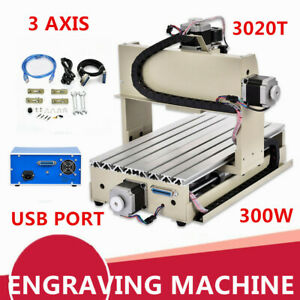 Usb 3 Axis Cnc 3020 Router Engraver Milling Drilling Cutter Desktop Machine 300w