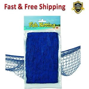 Decorative Fish Netting 4 X 12 Ft Blue Durable Cotton String Home Decor Accents