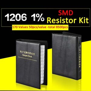8500pcs 1206 Smd smt 1 Resistor Samples Book Assorted Kit Component 170 Values