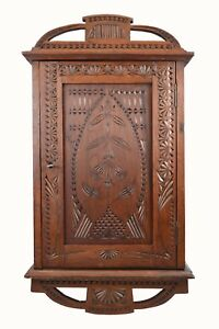 Antique Frisian Chip Carved Wall Hanging Cabinet Cupboard Dutch
