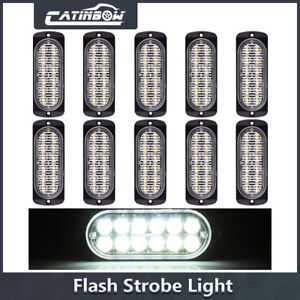 10x White 12 Led Strobe Lights Car Truck Beacon Flash Warning Hazard Emergency
