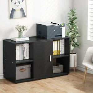 Home Office File Cabinet With Door Storage And 4open Cubes Work As Printer Stand