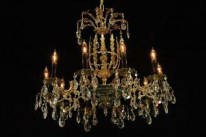 Vintage European Brass Crystal Antique 10 Arm Restored Chandelier