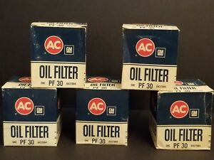 Vintage Nos Ac Delco Pf 30 Oil Filter Gm 6437994 Pont Olds Cadillac
